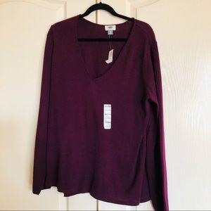 NWT old Navy V neck purple sweater XXL